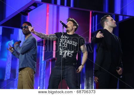 British band Blue perform at Slavyansky Bazar festival in Vitebsk on July 14, 2014, Belarus