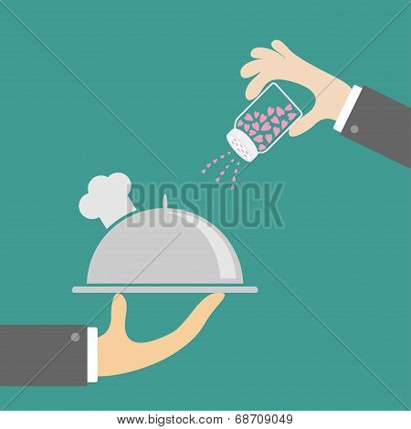 Two Hands With Silver Platter Cloche Chef Hat And Salt Shacker. Flat Design.