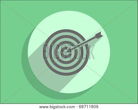 Flat long shadow icon of aim