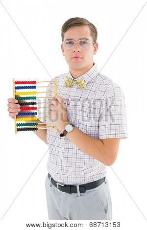 Geeky hipster holding an abacus on white background
