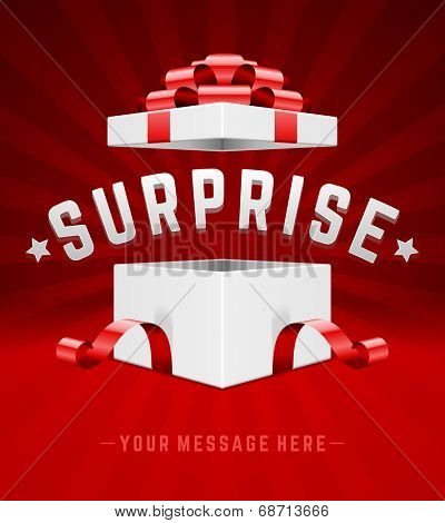 Open gift box and with red bow and ribbon vector background. Surprise message