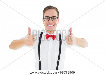 Geeky young hipster showing thumbs up on white background