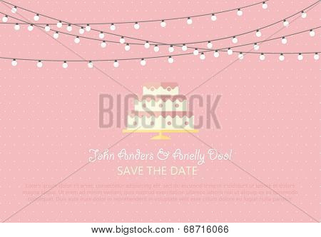 Wedding Card Invitation with wedding bouquet in Vector