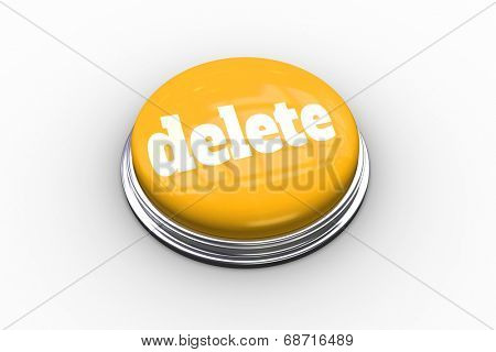 The word delete on shiny yellow push button on white background