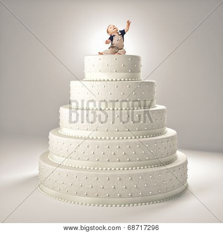 little cute child on top of the cake
