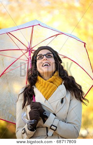Fashion Woman Under Autumn Rain With Umbrella
