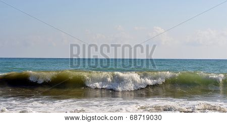 Sea wave rolled ashore