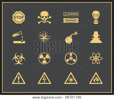 Danger and warning icons. Vector icons of attention and hazrd
