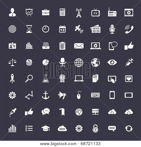 64 Universal icons for web and app. Elegant flat vector icons for business
