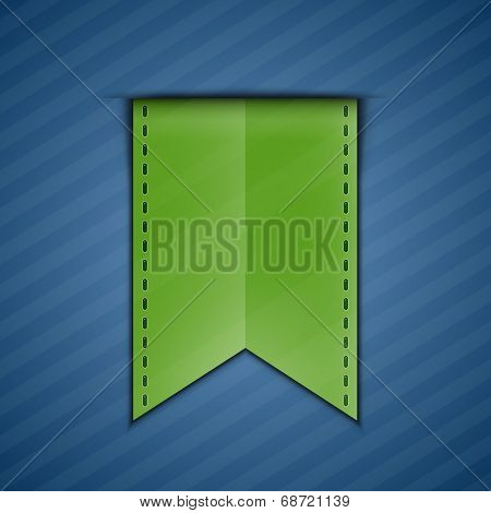 Green bookmark decoration ribbon on blue background. Vector illustration of green silky ribbon