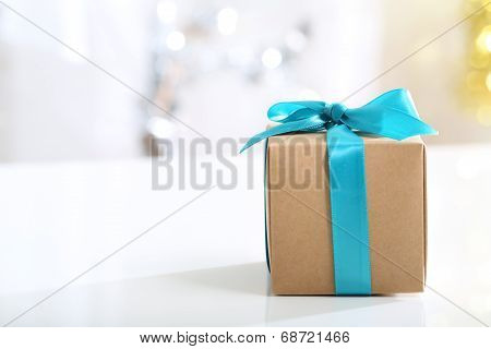 Gift Box With Teal Bow