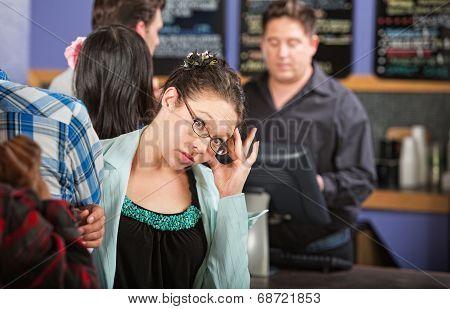 Cafe Customer With Headache