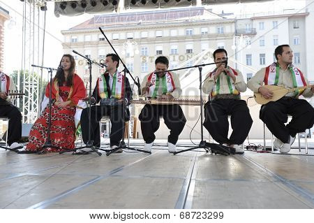 ZAGREB, CROATIA - JULY 18: Members of folk group Payiz from Sulaimaniya, Kurdistan, Iraq during the 48th International Folklore Festival in center of Zagreb, Croatia on July 18, 2014