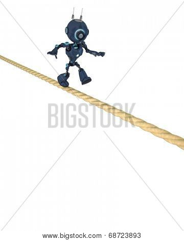 3D Render of an Android balancing on a tight rope