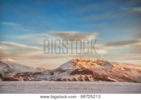Snowy Iceland Landscape