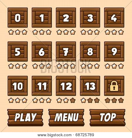 Wooden box level selection panel with buttons for game