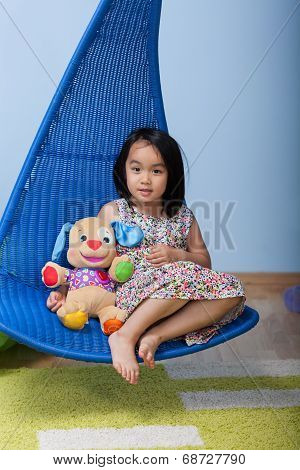 Asian Girl With Favourite Bear