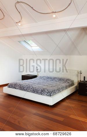 interior loft, nice bedroom, double bed