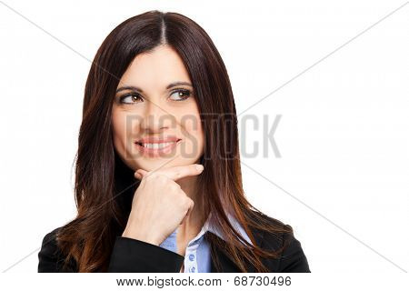 Portrait of a thoughtful woman. Isolated on white