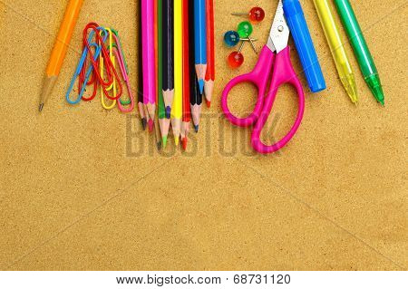 School supplies and bulletin board background