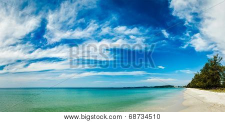 Panorama of Sihanoukville beach with beautiful sky cloudscape, Cambodia