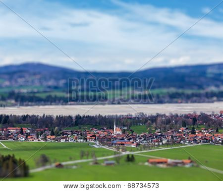 German countryside and village with tilt shift toy effect shallow depth of field. Bavaria, Germany