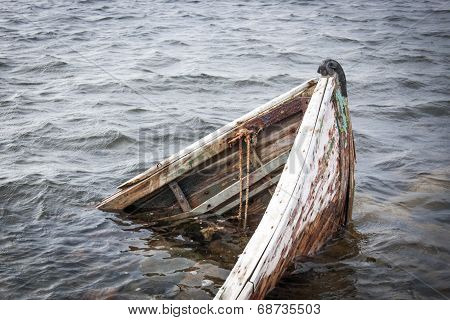 Old boat in the sea