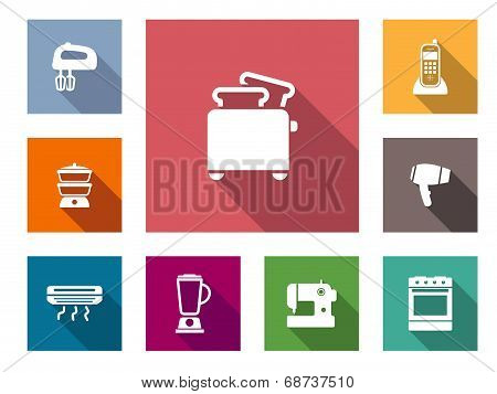 Flat home appliances icons