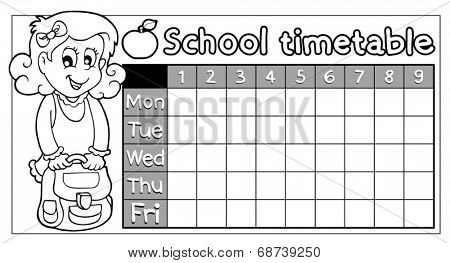 Coloring book school timetable 8 - eps10 vector illustration.