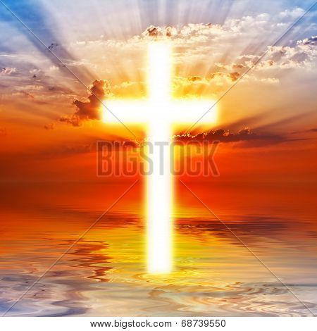 Cross Appearing On Sunrise Sky