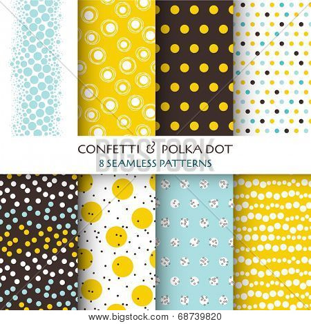 8 Seamless Patterns - Confetti and Polka Dot - texture for wallpaper, background, scrapbook, design - in vector