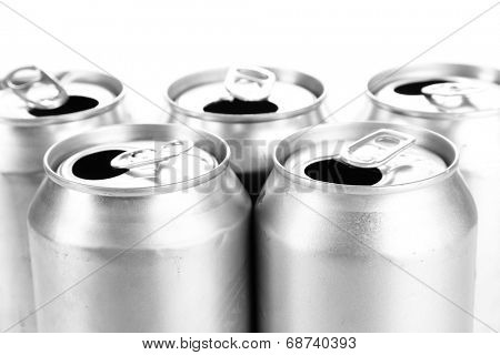 Metal beer cans close up