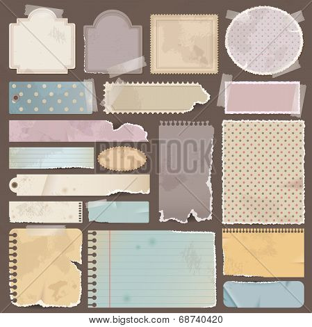 Various Old Remnant Pieces Of Paper, Scrapbook, And Note Board (vector)