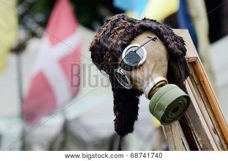 Gas Mask - Military Item In Rioters Camp On Maidan Nezavisimosti Square (downtown Of Kiev) ,Ukraine
