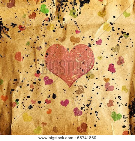 Abstract Grunge Background With Hearts
