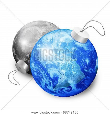 Earth And Moon Christmas Balls