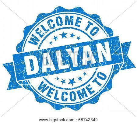 Welcome To Dalyan Blue Vintage Isolated Seal