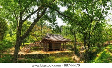 Traditional Korean pagoda and temple
