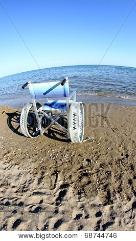 Wheelchair To Ensure The Mobility Of Disabled People On The Beach And The Sea