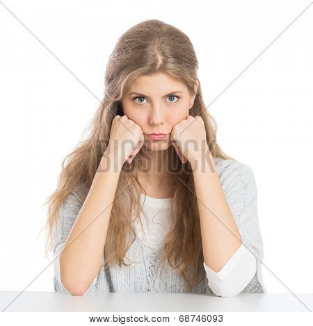 Portrait Of Girl With Grouch Isolated On White Background