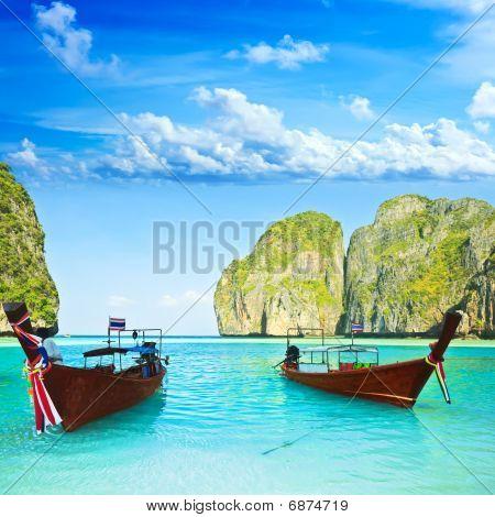 Longtail Boats At Maya Bay