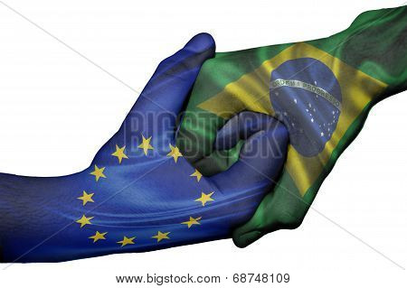 Handshake Between European Union And Brazil