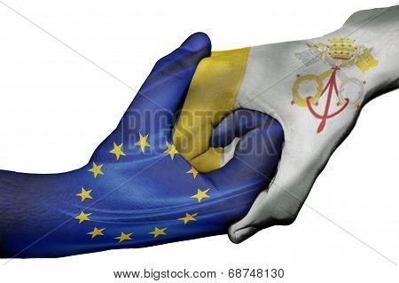 Handshake Between European Union And Vatican City
