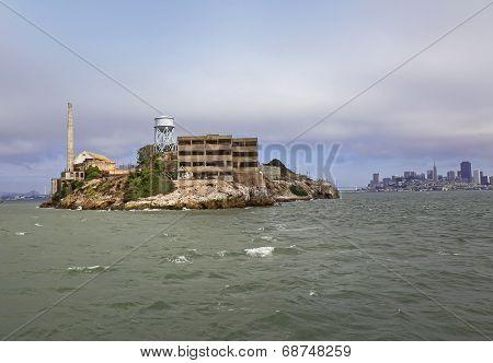 Alcatraz Island With San Francisco Skyline In Far Background