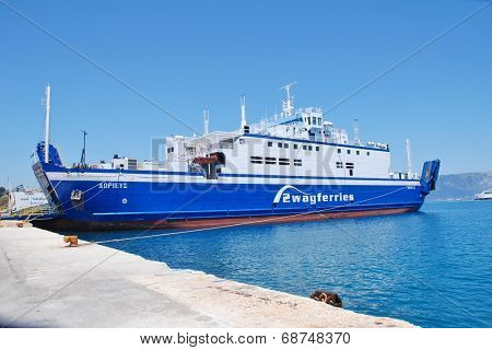 CORFU, GREECE - JUNE 23, 2014: 2Way Ferries ship Dorieus moored at Kerkira harbour on the Greek island of Corfu. The 95mtr ship was built in 1989 in Sunderland, England.