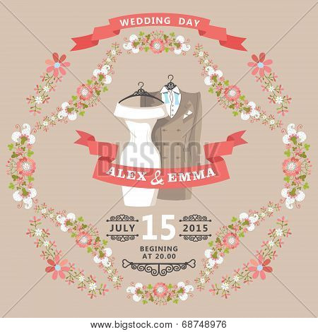 Cute Wedding Invitation With Wedding Wear And Floral Frame