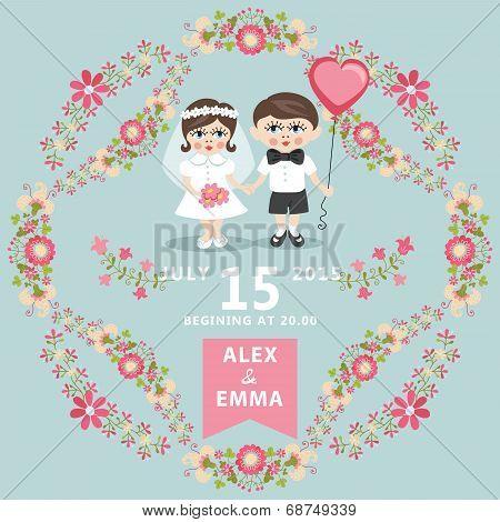 Wedding Invitation With Baby Bride,groom,floral  Frame