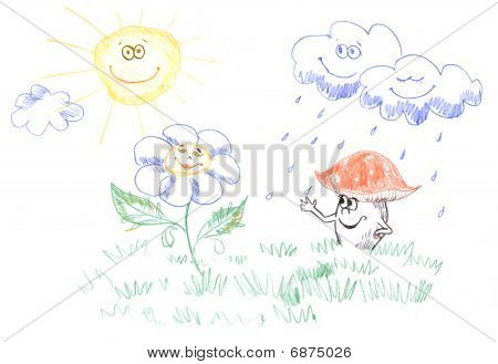 kids drawing of weather