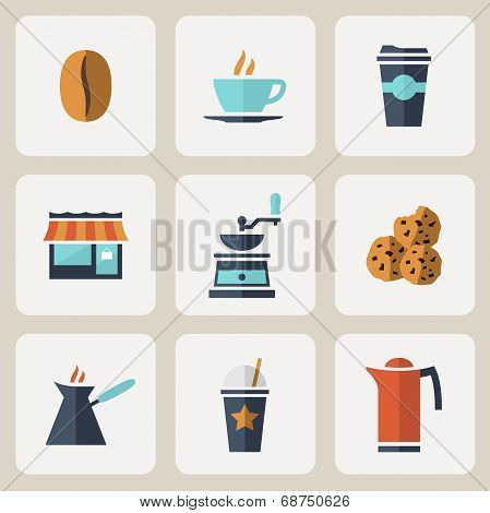 Flat design coffee icons set