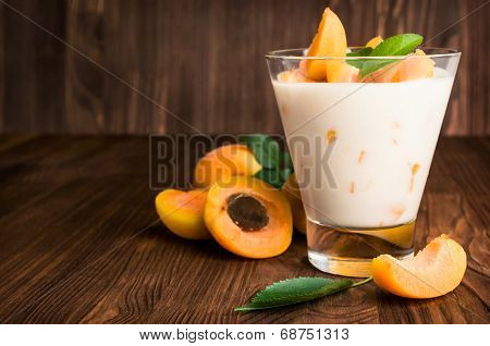 Homemade Yogurt With Ripe Apricots